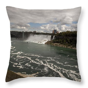 American Falls Throw Pillow by Amanda Barcon