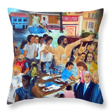 American History Katrina Financial Meltdown Throw Pillow by Leonardo Ruggieri