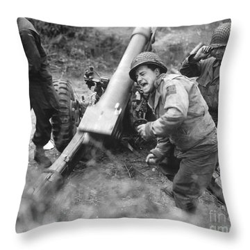 American Howitzers Shell German Forces Throw Pillow by Stocktrek Images