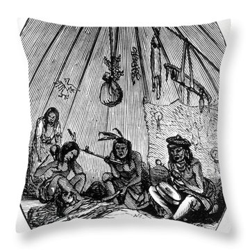 American Indian Medicine Lodge, 1868 Throw Pillow by Science Source