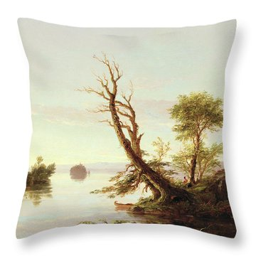 American Lake Scene Throw Pillow by Thomas Cole