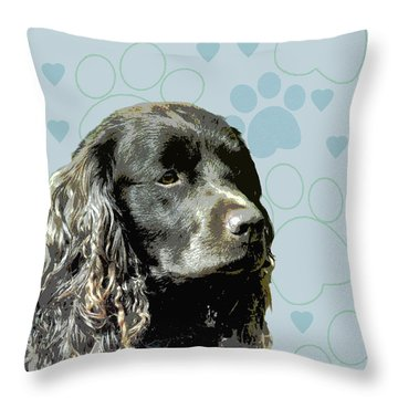 American Water Spaniel Throw Pillow by One Rude Dawg Orcutt