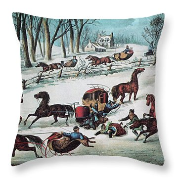American Winter 1870 Throw Pillow by Photo Researchers