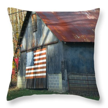 Throw Pillow featuring the photograph Americana Barn by Clara Sue Beym