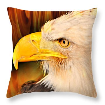 Americasn Bald Eagle Throw Pillow by Marty Koch