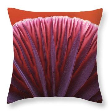 Amethyst Deceiver Laccaria Amethystea Throw Pillow by Jan Vermeer