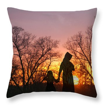 Amish Sisters Throw Pillow