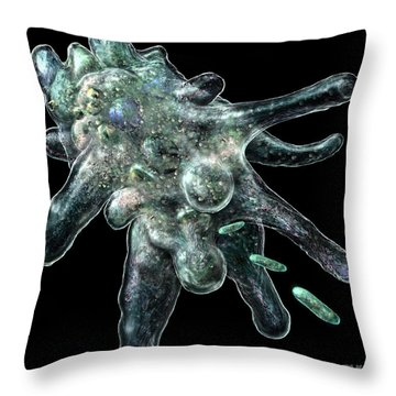 Amoeba Black Throw Pillow
