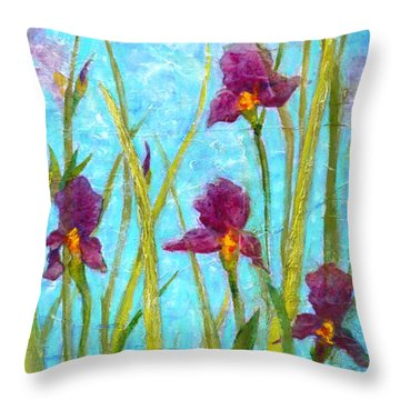 Among The Wild Irises Throw Pillow by Carla Parris