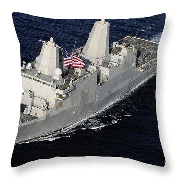 Amphibious Transport Dock Ship Uss San Throw Pillow by Stocktrek Images