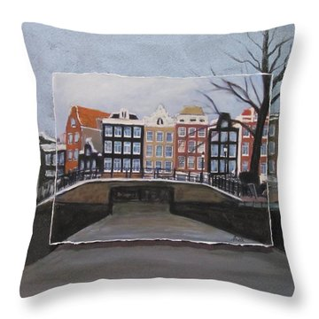 Amsterdam Bridge Layered Throw Pillow by Anita Burgermeister