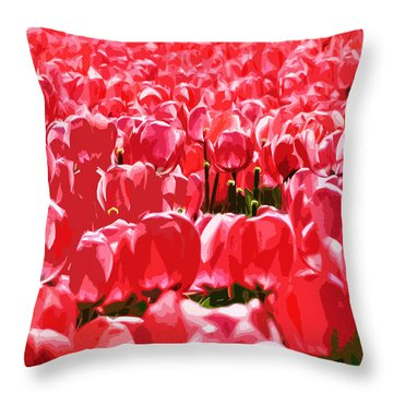 Amsterdam Tulips Throw Pillow by Phill Petrovic