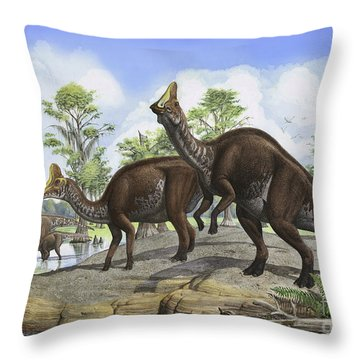 Amurosaurus Riabinini Dinosaurs Grazing Throw Pillow by Sergey Krasovskiy
