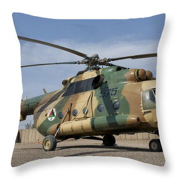 An Afghan Air Force Mi-17 Helicopter Throw Pillow