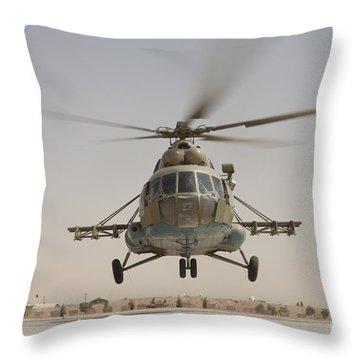 An Afghan Air Force Russian Mil Mi-17 Throw Pillow
