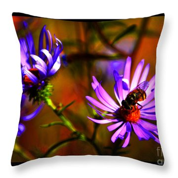 An Afternoon Bee In The Asters Throw Pillow by Susanne Still