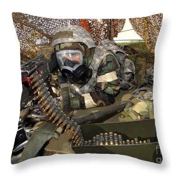 An Airman Defends Her Position Firing Throw Pillow by Stocktrek Images