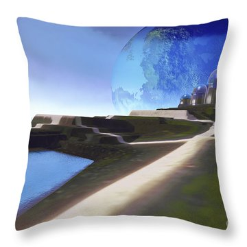 An Alien World With Strange Throw Pillow by Corey Ford