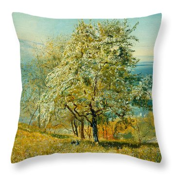 An Alpine Lake Throw Pillow by John William Inchbold