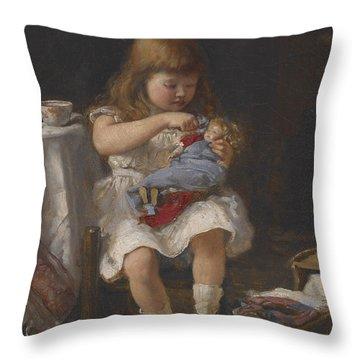 An Anxious Mother Throw Pillow by Percival de Luce