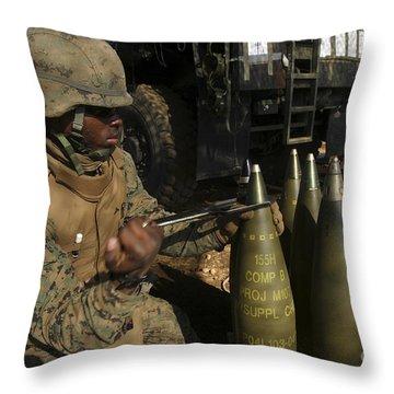 An Artilleryman Places A Fuse Throw Pillow by Stocktrek Images