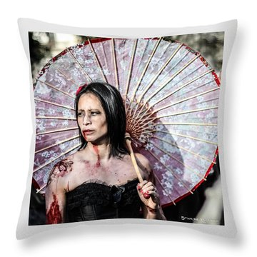 Throw Pillow featuring the photograph An Asian Zombie by Stwayne Keubrick