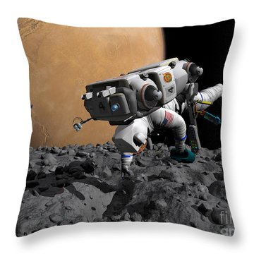 An Astronaut Makes First Human Contact Throw Pillow by Walter Myers