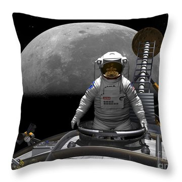 An Astronaut Takes A Last Look At Earth Throw Pillow by Walter Myers