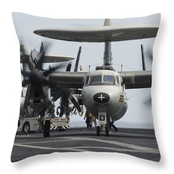 An E-2c Hawkeye Aircraft On The Flight Throw Pillow by Stocktrek Images