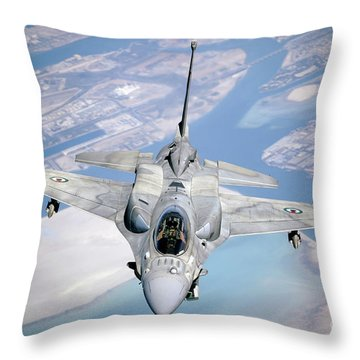 An Emirati F-16 Conducts A Training Throw Pillow by Stocktrek Images