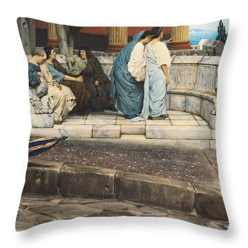 An Exedra Throw Pillow by Sir Lawrence Alma-Tadema