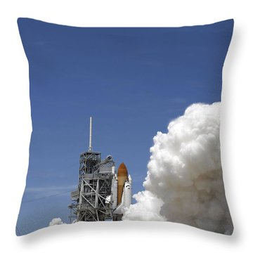 An Exhaust Plume Forms Around The Base Throw Pillow by Stocktrek Images