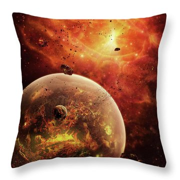 An Eye-shaped Nebula And Ring Throw Pillow by Brian Christensen