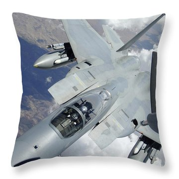 An F-15 Eagle Pulls Away From A Kc-135 Throw Pillow by Stocktrek Images