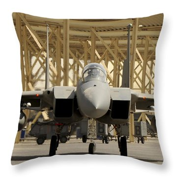 An F-15 Eagle Taxis Prior To A Training Throw Pillow by Stocktrek Images