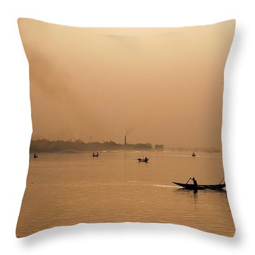 An Industrial Sunset Throw Pillow by Fotosas Photography