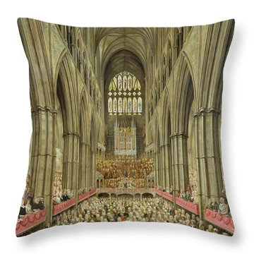 An Interior View Of Westminster Abbey On The Commemoration Of Handel's Centenary Throw Pillow by Edward Edwards