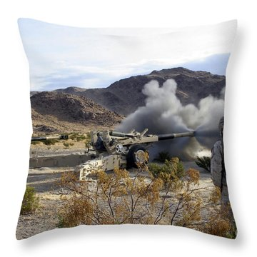 An M198 Howitzer Fires A 155-millimeter Throw Pillow by Stocktrek Images