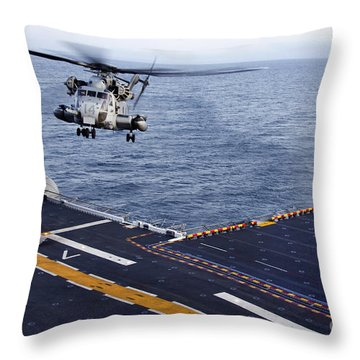 An Mh-53e Sea Dragon Prepares To Land Throw Pillow by Stocktrek Images