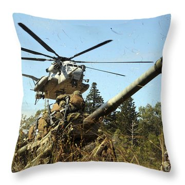 An Mh-53e Sea Stallion Helicopter Throw Pillow by Stocktrek Images