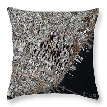 An Oblique-angle View Of San Franciscos Throw Pillow by Stocktrek Images