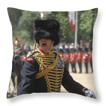 An Officer Shouts Commands Throw Pillow by Andrew Chittock
