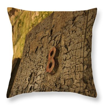 An Old Door At A Prison Throw Pillow by Ellie Teramoto