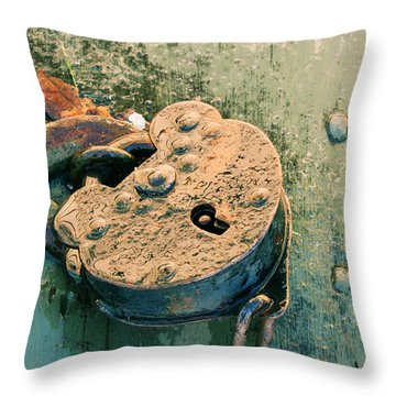 Old Lock Throw Pillow by Katie Wing Vigil