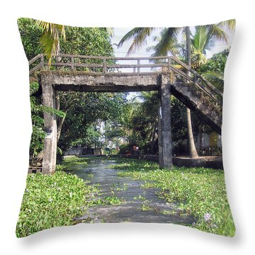 An Old Stone Bridge Over A Canal In Alleppey Throw Pillow by Ashish Agarwal