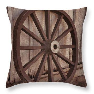 An Old Wagon Wheel Throw Pillow