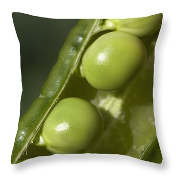 An Opened Green Pea Pod Alberta, Canada Throw Pillow by Michael Interisano