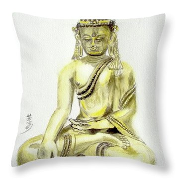 Throw Pillow featuring the painting An Orient Statue At Toledo Art Museum - Ohio-3 by Yoshiko Mishina