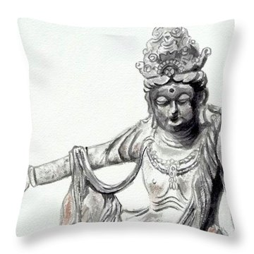 Throw Pillow featuring the painting An Oriental Statue At Toledo Art Museum - Ohio- 2 by Yoshiko Mishina