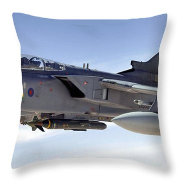 An Raf Tornado Gr-4 Takes On Fuel Throw Pillow by Stocktrek Images